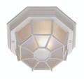 """Benkert 5"""" Outdoor White Rustic Flushmount Lantern with Black Rustic Octagonal Metal Frame"""