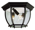 "Angelus 6.5"" Outdoor Black Traditional Flushmount Lantern with Clear Beveled Glass"