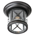 "Chandler 9.5"" Outdoor Rubbed Oil Bronze Traditional Flushmount Lantern with Crossbar Rustic Appeal"