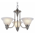 "Perkins Perkins 18.5"" Brushed Nickel Modern Chandelier with Marbelized Glass Shades"