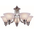 "Perkins Perkins 24"" Brushed Nickel Modern Chandelier with Marbelized Glass Shades"