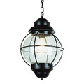 "Catalina 19"" Outdoor Black Nautical Hanging Lantern with Round Seeded Glass Design"
