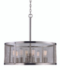 "Mesh 24.75"" Industrial Brushed Nickel Pendant with Cylindrical Shade - Perfect for Vaulted Ceilings"