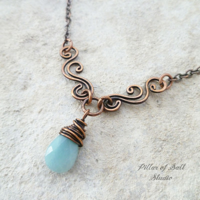 Amazonite Copper Wire Wrapped necklace scrolling V