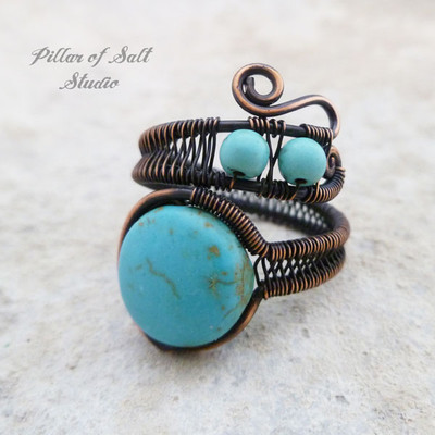 turquoise magnesite wire wrapped ring by Pillar of Salt Studio