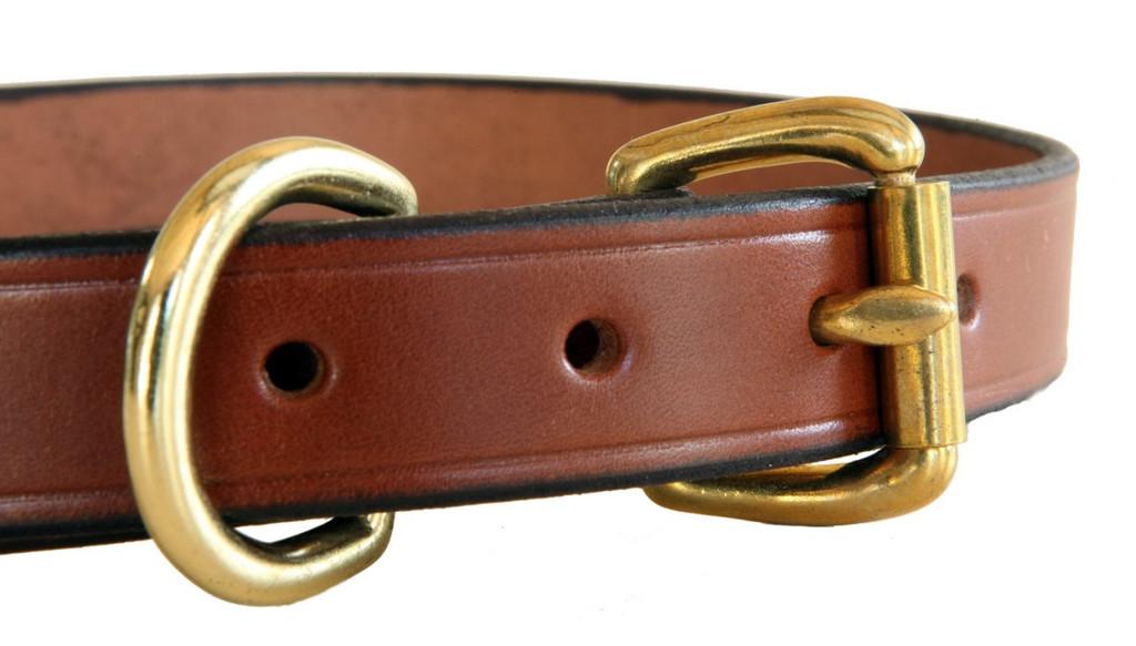 closeup of brass hardware - brown leather collar