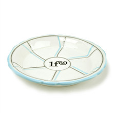 Porcelain Absinthe Coaster/Saucer, 1f50, Lt Blue/Silver, with Lines