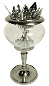 Metal and Glass Absinthe Spoon Holder, Tall