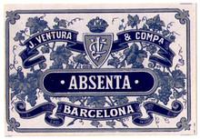 Antique Absenta Barcelona Absinthe Bottle Label