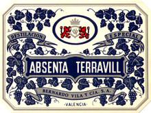 Antique Absenta Terravill Absinthe Bottle Label