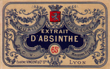 Antique Extract d'Absinthe Vincent Absinthe Bottle Label