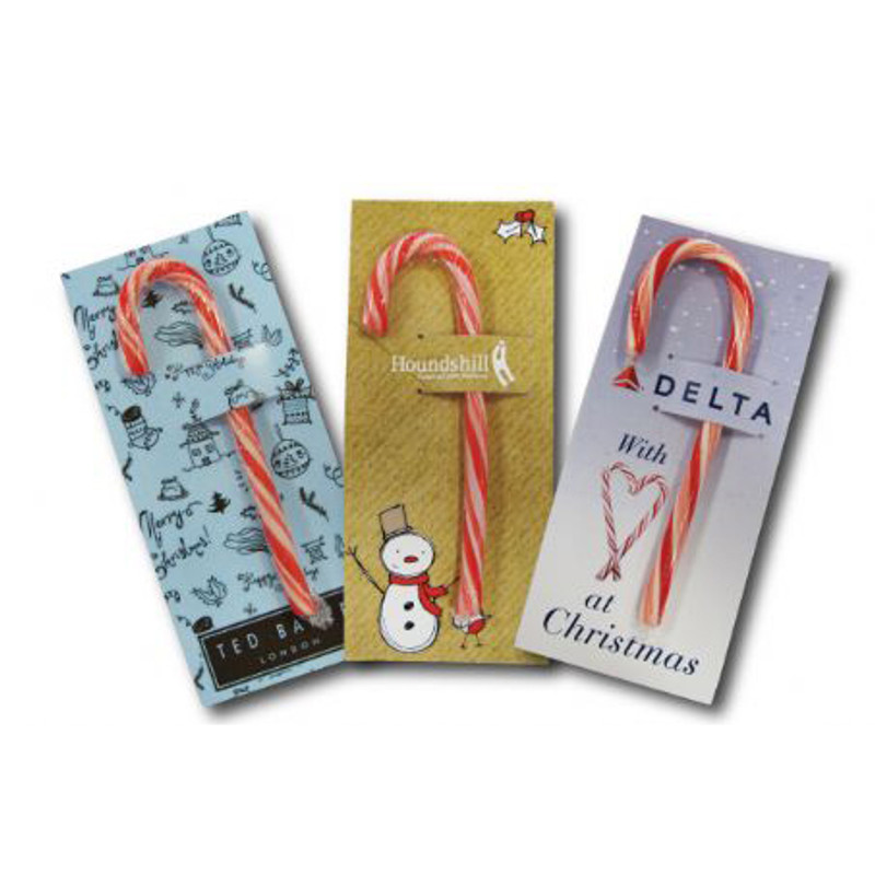 Branded Christmas Candy Cane On Card