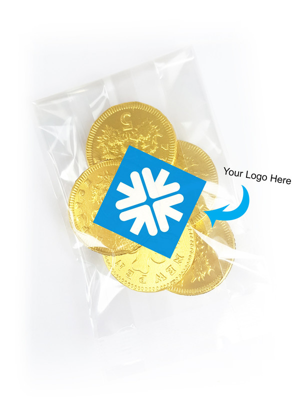 Chocolate Coin Bag With Branded Label