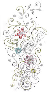 Ovrs612 - Multi Flowers & Swirls Long Accent Piece
