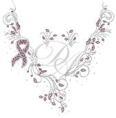 Ovrs5311 - Cancer Ribbon V Neckline