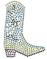 Ovrs370 - Aqua and Lime Western Cowboy Boot