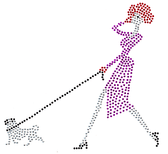 Ovrh2215 - Red Hat Lady walking dog