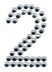 Ovrs3388-2 - 2 Inch Double Row Rhinestone Number 2