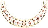 Ovrg912 - Gold / Red Round Neckline - ON SALE!