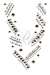 Ovrs1482 - Geometric Notch Neckline For Tunic