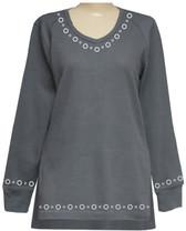 Style # 1713 - Gray  w/Design # Ovrs7318 (Neckline) & Ovrs7316 (Cuffs & Hem)