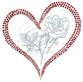 Ovrs4991 - Red Heart with Crystal Rose Flower Inside
