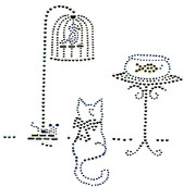 Ovrs475 - Cat, Birdcage, and Fish Bowl