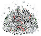 Ovrs5339 - 2 Christmas Penguins with Winter Scene