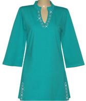 Style # 1411 - Sea Green w/Design #:  Ovrs1490 (Neckline & Slits)