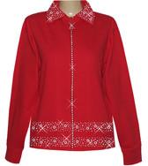 Style # 1601 - Red w/Design # Ovrs1700 (Hem) - 4 pcs & Ovrs1703 (Collar)