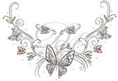 Ovrs6138 - Butterflies and Swirls Round Neckline