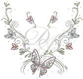 Ovrs6139 - Butterflies and Swirls V-Neckline