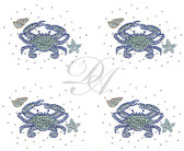 Ovrs9802SB - Small Teal Crab with Starfish and Seashells 4 per page