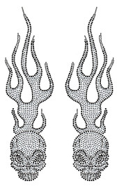 Ovrs1211 - Flaming Skull Pair - ON SALE!