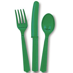 Festive Green Assorted Cutlery 24 Count