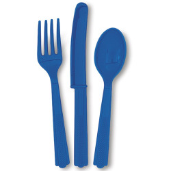 Royal Blue Assorted Cutlery 24 Count