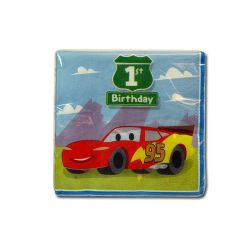 Cars 1st Birthday Beverage Napkins 16ct