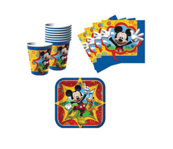Mickey Mouse Birthday Party Supplies Set Plates Napkins Cups Kit for 16