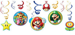 Super Mario Swirl Decorations 12ct