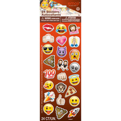 EMOJI PUFFY STICKERS ASSORTMENT (24 COUNT)