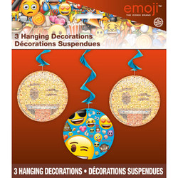 EMOJI HANGING SWIRL DECORATIONS (3 PACK)