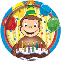 """Curious George Party 8 9"""" Plates"""