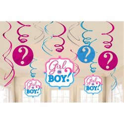 Girl or Boy? Value Pack Foil Swirl Decorations (12 pieces)