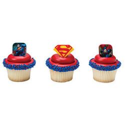 Superman Shield Cupcake Rings (12 count)