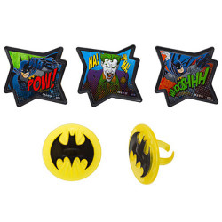 """Kick the party into action with these Batman Cupcake Rings! These cool Batman cupcake toppers measure 1.75"""" and come in five different designs. Use them as decorative toppers and as favors for after the party. (12 per pack)"""