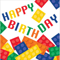 "Build a birthday wish with these Block Party ""Happy Birthday"" Lunch Napkins! These sturdy paper napkins are a colorful addition to any Lego- or block-themed party. (16 per pack)"