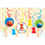 Elmo Turns One Value Pack Swirl Decorations (12)