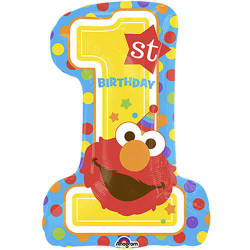 ELMO'S FIRST BIRTHDAY SUPERSHAPE FOIL BALLOON