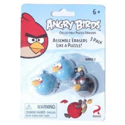 Angry Birds Puzzle Erasers 3pk - Blue/Black