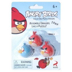 Angry Birds Puzzle Erasers 3pk - Red/Blue